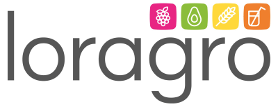 logo de loragro en png avec petits logo fruits légumes céréales et jus et purées