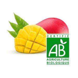 une mangue entière orange-rouge et une demi mangue découpée avec feuille sur fond blanc et logo agriculture biologique