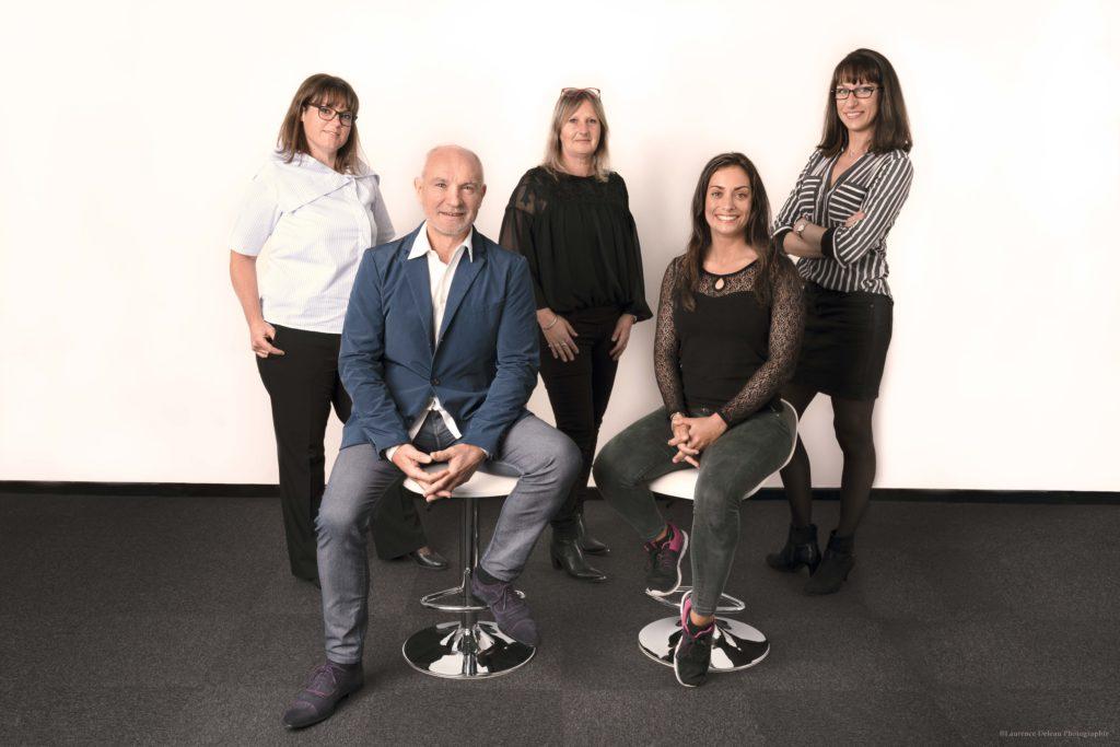 L'équipe de Loragro avec Éric, Vinciane, Lise, Laurence et Stéphanie
