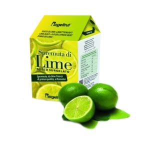 une brique de jus de citron vert surgelé sur fond blanc